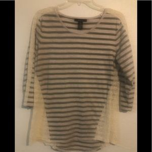 Women's Style and Co gray striped lace shirt